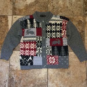 Eddie Bauer 100% Wool Cardigan Sweater Size Medium